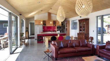 Lounge with red leather couch and hanging light ceiling, estate, home, house, interior design, living room, property, real estate, room