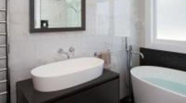 Photography by Jamie Cobel - Vanity in Caesarstone bathroom, bathroom accessory, bathroom sink, floor, home, interior design, plumbing fixture, product, product design, property, room, sink, tap, toilet seat, gray