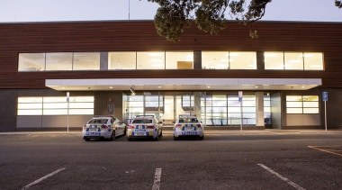 NOMINEETauranga Central Police Station (1 of 4) - architecture, building, car, facade, house, luxury vehicle, residential area, red