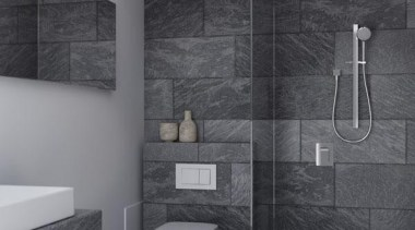 Urban epitomises the current trends for rectangular elements, architecture, bathroom, black and white, ceiling, daylighting, floor, interior design, monochrome, plumbing fixture, room, tap, tile, toilet, wall, gray, black