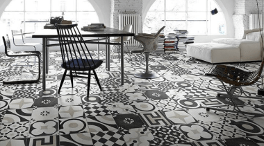 12 different black & white patterned tiles, randomly carpet, chair, floor, flooring, furniture, interior design, table, tile, white, gray