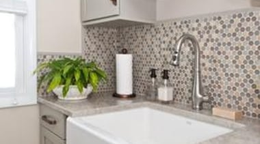 Bachelor Pad to Serene - Laundry Room - bathroom, bathroom accessory, bathroom cabinet, cabinetry, countertop, floor, home, home appliance, interior design, kitchen, room, sink, tap, tile, wall, gray