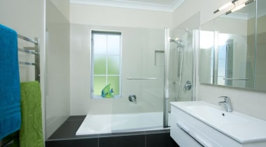 Shower over bath, Tiled walls around shower, ceiling architecture, bathroom, glass, home, house, interior design, property, real estate, room, window, gray