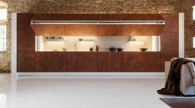 An imposing wall of weathered corten steel one floor, flooring, furniture, interior design, brown, gray