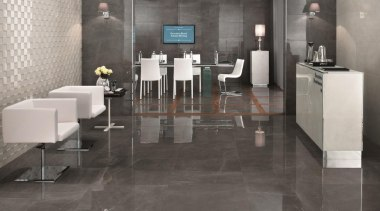 Grey stone boardroom floor tiles and Calacatta 3D floor, flooring, furniture, interior design, lobby, table, tile, wood flooring, gray