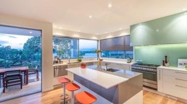 Whangaparoa - Tropical Kitchen - apartment | architecture apartment, architecture, countertop, estate, house, interior design, kitchen, property, real estate, orange