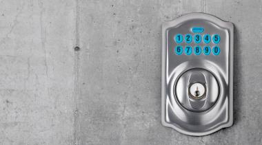 Schlage Keypad Deadbolt for Home Security. Satin Chrome hardware, hardware accessory, lock, product design, gray