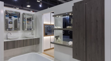 vanity, mirror cabinet, floating shelves - Homeshow - countertop, interior design, kitchen, gray, black