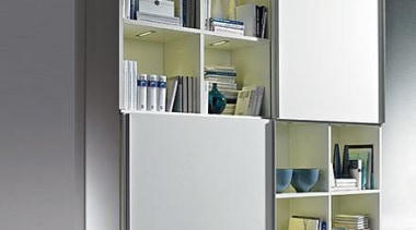 The universal sliding door system for all furniture bookcase, furniture, product, product design, shelf, shelving, gray