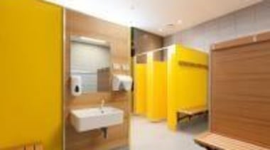 Changing room at St Mary's College Designed by floor, interior design, property, real estate, room, yellow, orange