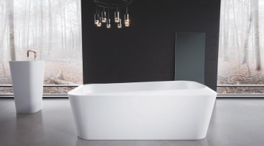 Working with star designer Arik Levy, Kaldewei has bathroom, bathroom sink, bathtub, ceramic, interior design, plumbing fixture, product design, tap, toilet seat, white, black