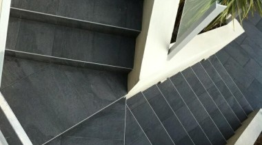Stone D graphite exterior staircase porcelain tiles daylighting, facade, floor, house, roof, stairs, window, black