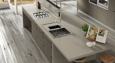 Silestone Basiq Coral Clay - Silestone Basiq Coral countertop, cuisine classique, floor, flooring, furniture, interior design, kitchen, product design, sink, table, gray