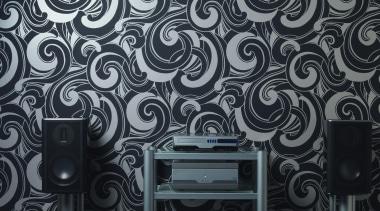 Pacifika Koru - Modern Style Range - black black and white, design, monochrome, pattern, wallpaper, black, gray