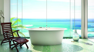 ora oval fs low.jpg - ora_oval_fs_low.jpg - bathroom bathroom, bathtub, interior design, plumbing fixture, sea, swimming pool, table, water, green, white