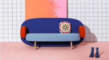 A playful mix of shapes, colours and textures chair, couch, design, furniture, orange, product, product design, table, pink, white