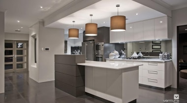 Kitchen design. - The Providence Display Home - cabinetry, ceiling, countertop, cuisine classique, floor, flooring, interior design, kitchen, real estate, room, gray