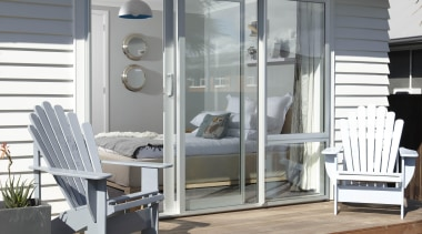 Sliding door from bedroom. deck, home, house, outdoor structure, real estate, siding, window, gray