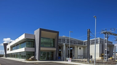 EXCELLENCE AWARDWiri Electric Train Maintenance and Stabling Facility architecture, building, commercial building, corporate headquarters, headquarters, metropolitan area, mixed use, real estate, sky, blue