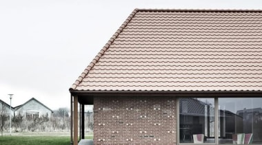 Brick House, Nyborg, DenmarkLETH & GORI - World architecture, building, facade, home, house, residential area, roof, siding, white