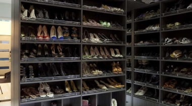 Walking wardrobe for your shoes - Walking Wardrobe closet, furniture, shelf, shelving, shoe store, black, gray