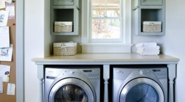 Utilitarian spaces such as laundry rooms and mudrooms cabinetry, clothes dryer, home appliance, laundry, laundry room, major appliance, room, washing machine, gray