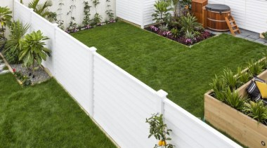 Simpler. Faster. Proven Weathertight. - A-lign Fencing - artificial turf, backyard, courtyard, fence, garden, grass, landscaping, lawn, outdoor structure, plant, walkway, wood, yard, brown, white