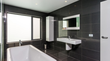 Winner Bathroom of the Year 2013 Tasmania - architecture, bathroom, floor, interior design, property, real estate, room, sink, tile, black, gray, white