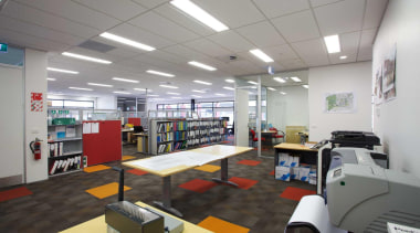 OfficeMax provides a comprehensive furniture solution, a full institution, interior design, gray