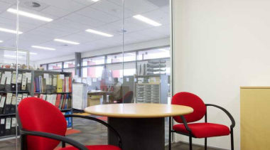 OfficeMax provides a comprehensive furniture solution, a full architecture, ceiling, chair, daylighting, floor, furniture, interior design, office, product design, table, wall, gray