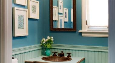 Powder Rooms should be fun, creative and have bathroom, bathroom accessory, bathroom cabinet, blue, cabinetry, ceiling, countertop, floor, furniture, home, interior design, room, wall