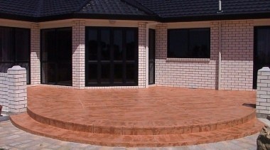 Overlay_84 - backyard | brick | brickwork | backyard, brick, brickwork, hardwood, home, outdoor structure, patio, property, real estate, siding, walkway, wall, wood stain, black, red