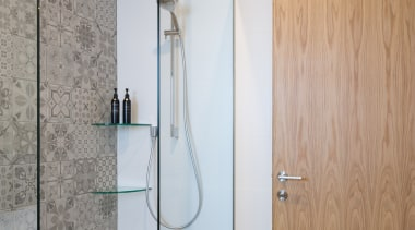 Bathroom - angle | bathroom | door | angle, bathroom, door, floor, glass, interior design, plumbing fixture, shower, wall, gray