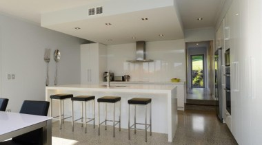 Modern contemporary Kitchen with polished concrete floor and architecture, countertop, floor, house, interior design, kitchen, property, real estate, room, gray
