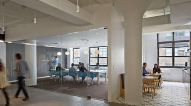 The design for renowned advertising agency Wieden+Kennedy moves ceiling, institution, interior design, lobby, gray