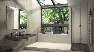 Ambiente baño vivienda -  Lavabo Exclusive Silestone architecture, bathroom, house, interior design, window, gray