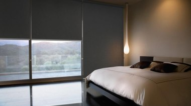 luxaflex roller blinds - luxaflex roller blinds - architecture, bed, bed frame, bedroom, ceiling, floor, furniture, interior design, property, room, shade, suite, wall, window, window blind, window covering, window treatment, wood, black
