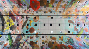 The Markthal Rotterdam is a market hall unlike art, artwork, modern art, mural, painting, wall, gray