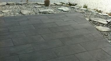 Stone D graphite exterior patio floor tiles - floor, road surface, sky, walkway, wall, water, gray, black