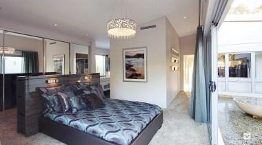 Master ensuite design. - The Haven Display Home bed frame, bedroom, ceiling, estate, home, interior design, property, real estate, room, gray, white