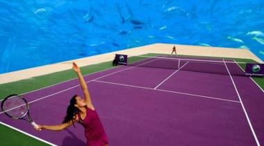 World's First Underwater Tennis Complex 02 - World's ball game, grass, leisure, net, racquet sport, sport venue, sports, structure, tennis, tennis court, tennis player, teal, purple