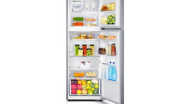 Refrigerator - Top Mount SR341MLSSamsung's new top mount home appliance, kitchen appliance, major appliance, product, refrigerator, shelf, white