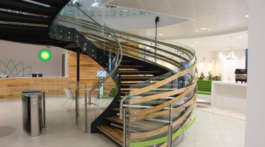 BP Head Office, NZ - Spiral staircase, glass handrail, interior design, product design, stairs, gray