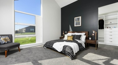This master suite is beautiful - This master bed frame, bedroom, floor, home, interior design, real estate, room, window, gray
