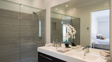 Landmark Homes Brookside Design Bathroom - Landmark Homes bathroom, floor, home, interior design, room, gray