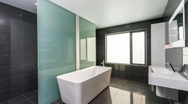 Winner Bathroom of the Year 2013 Tasmania - architecture, bathroom, floor, interior design, product design, real estate, room, tile, gray, black