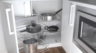 Giamo's Magic Corner boasts a clever design that cabinetry, countertop, cuisine classique, furniture, home appliance, interior design, kitchen, kitchen appliance, kitchen stove, major appliance, room, shelf, small appliance, gray