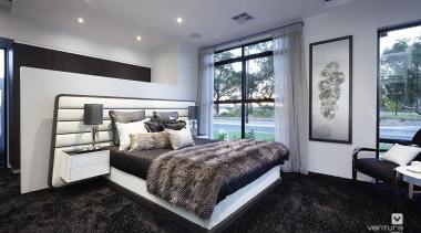 Master ensuite design. - The Montrose Display Home bed frame, bedroom, ceiling, home, interior design, property, real estate, room, window, gray, black