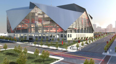 Mercedes-Benz Stadium 02 - Mercedes-Benz Stadium 02 - architecture, building, commercial building, corporate headquarters, headquarters, mixed use, structure, urban design, gray
