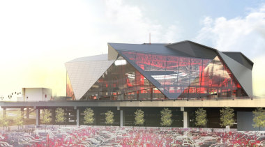 Mercedes-Benz Stadium 04 - Mercedes-Benz Stadium 04 - architecture, building, facade, mixed use, roof, sport venue, stadium, structure, white